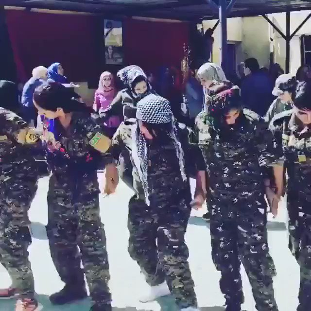 """Alex Salvi on Twitter: """"Kurdish female soldiers dance in Raqqa after defeating ISIS, on the very streets where the terrorist group once bought and sold women.https://t.co/DHbB5BgkyN"""""""