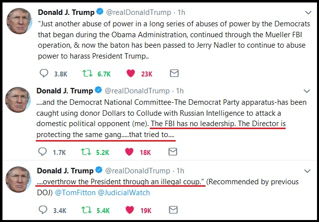 """President Trump Calls Out FBI Director Christopher Wray: """"the director is protecting the coup gang""""… 