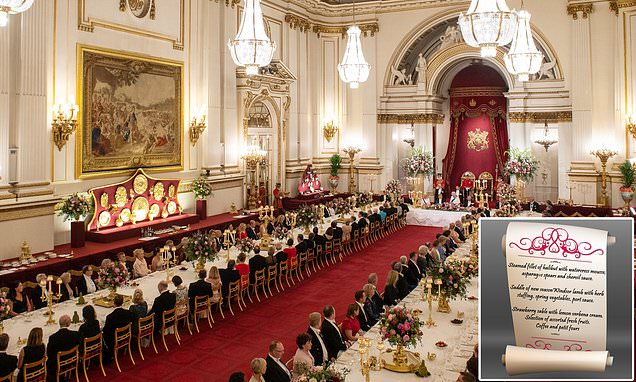 Inside the State Banquet: How the Queen treated President Trump to dinner of Windsor lamb   Daily Mail Online