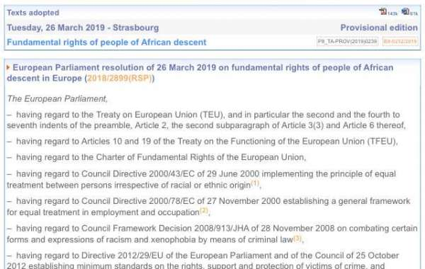 European Parliament resolution of 26 March 2019 on fundamental rights of people of African descent in Europe (2018/2899(