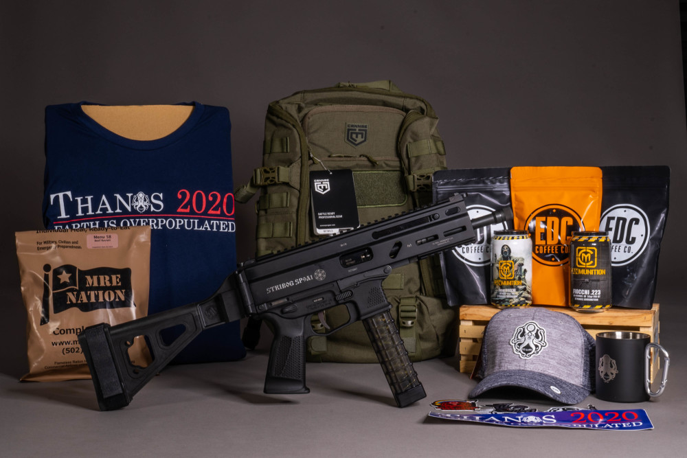 Win a Grand Power Stribog, SB Tactical  brace, 6 pack of CanMunitions, Cannae pack, Leviathan/EDC gear package, and MRE Nation MRE kit!