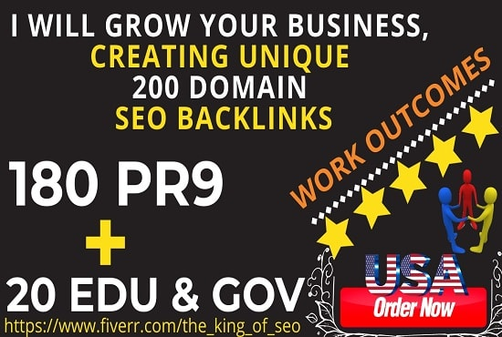 Grow your business, creating unique 200 domain seo backlinks by The_king_of_seo