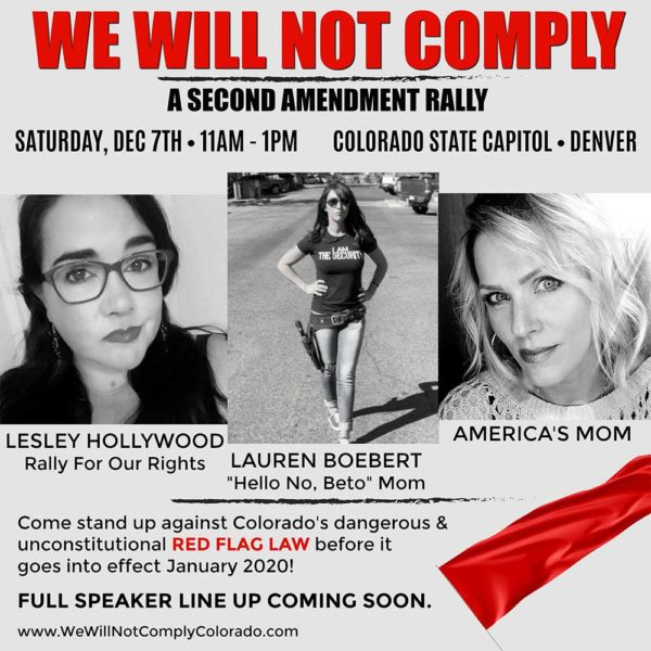 We Will Not Comply RALLY in Denver CO Saturday, Dec 7th, 2019 - Guns in the News