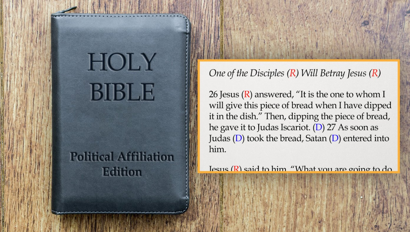 New Political Bible Adds (R) Or (D) After Each Character's Name | The Babylon Bee