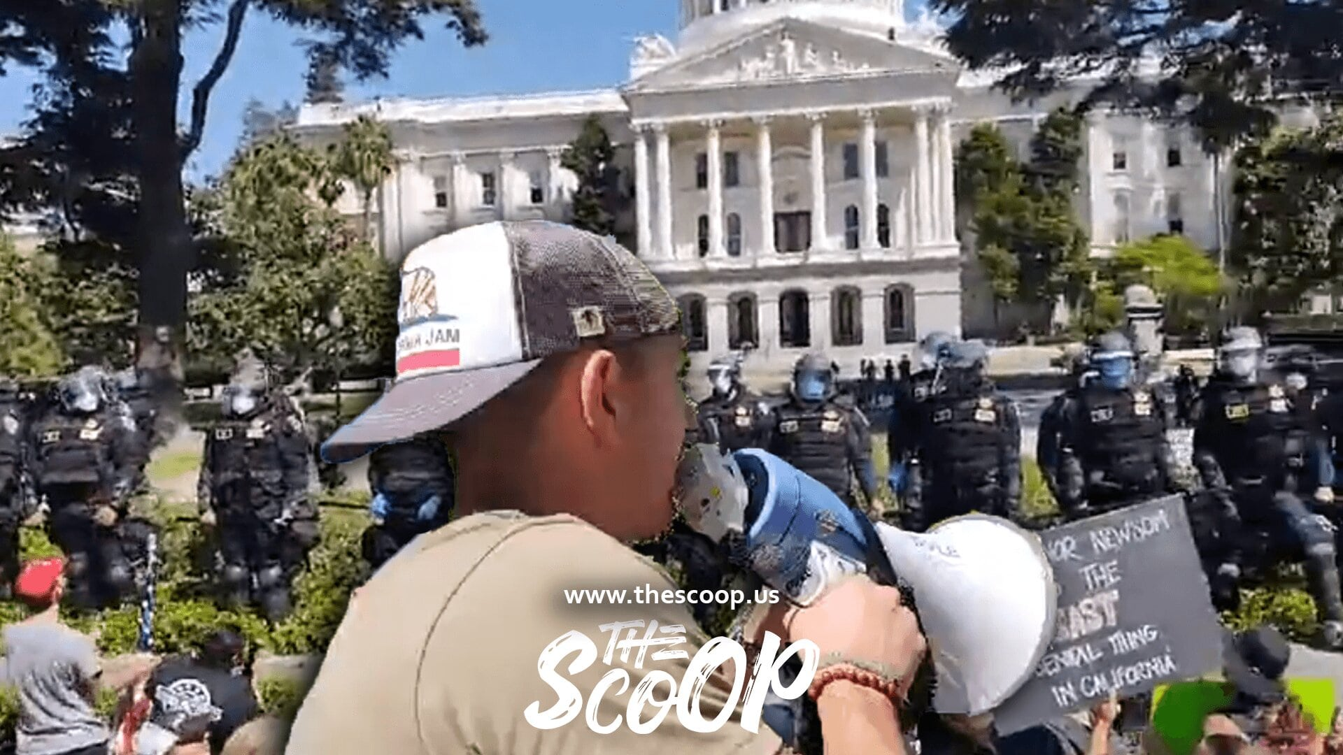 WATCH: California Police Officers At Anti-Lockdown Protest Appear To STAND DOWN After Marine Vet With Megaphone Challenges Their Integrity
