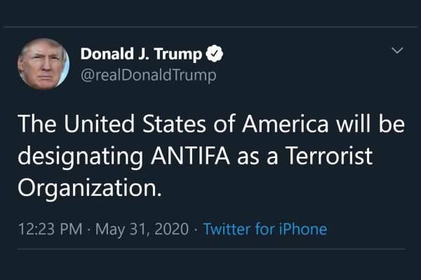 Trump says U.S. to designate Antifa as a terrorist organization   Disrn