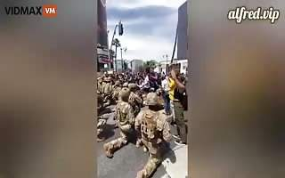 California National Guard Surrender To The Mob, Kneel Before Cheering Crowd - Videos - VidMax.com