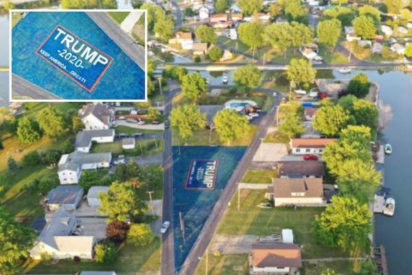MAGA-loving military veteran transforms his entire yard into a giant Trump banner – The Sun