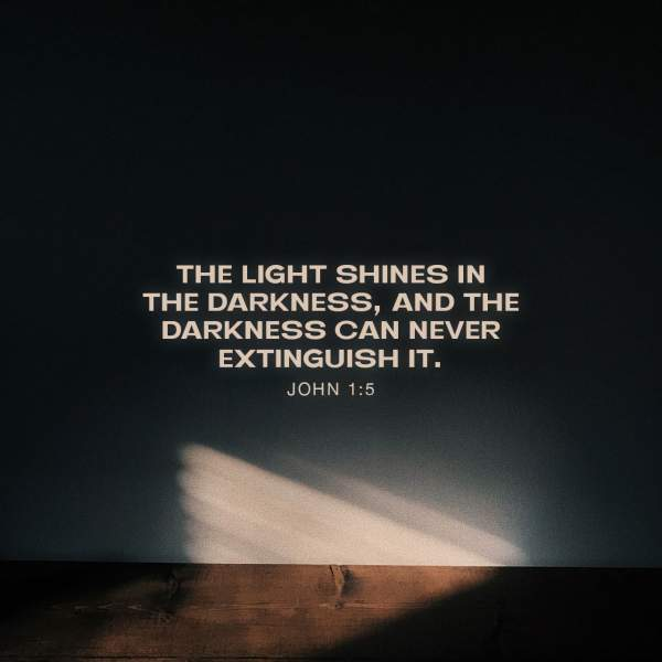 John 1:5 And the light shines in the darkness, and the darkness did not comprehend it. | New King James Version (NKJV) | Download The Bible App Now