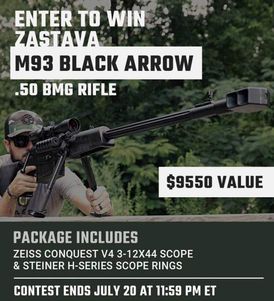 Contest - Win A Zastava M93 Black Arrow .50 BMG Rifle w/ Zeiss 3-12x44 Scope