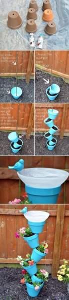 DIY Garden Planter & Birds Bath   Backyard projects, Diy garden, Crafts