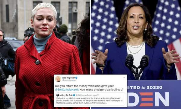 Rose McGowan calls out Kamala Harris for accepting past donations from Harvey Weinstein   Daily Mail Online