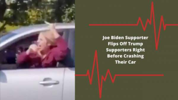 Joe Biden Supporter Flips Off Trump Supporters Right Before Crashing Their Car