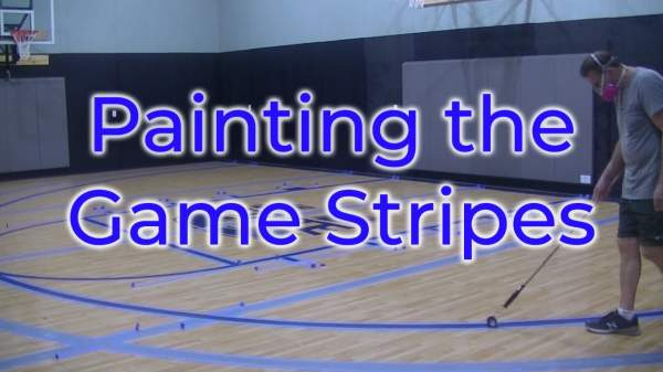 Skidmore Gym, Part 4, Painting the Stripes - YouTube