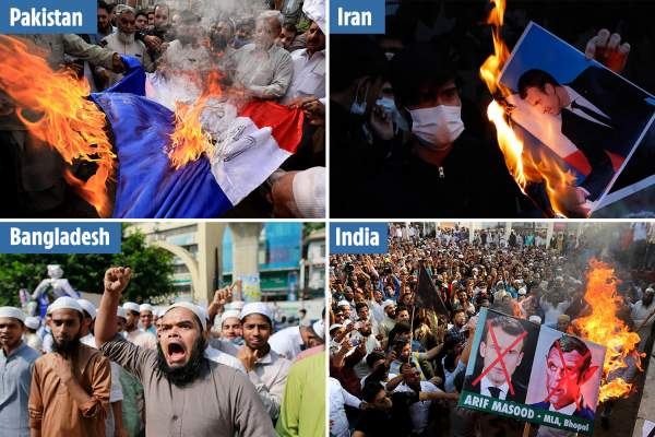Muslims around world burn French flags & images of Macron in furious protests despite multiple terror attacks in France