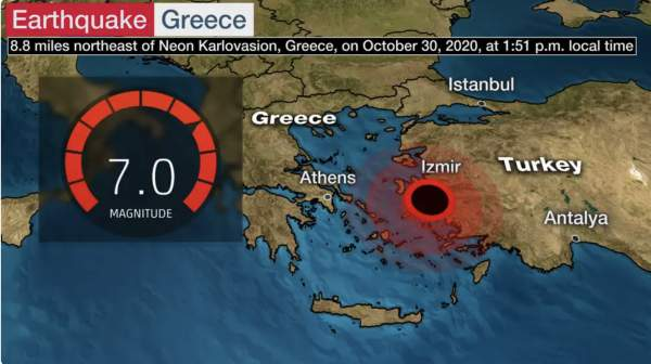 Huge 7.0 Earthquake Strikes Greece, Buildings Collapsed, Tsunami Waves Reported