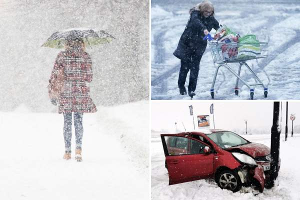 UK weather – FOOT of snow to fall and temperatures set to drop to -12C as icy winds blast Britain causing travel chaos