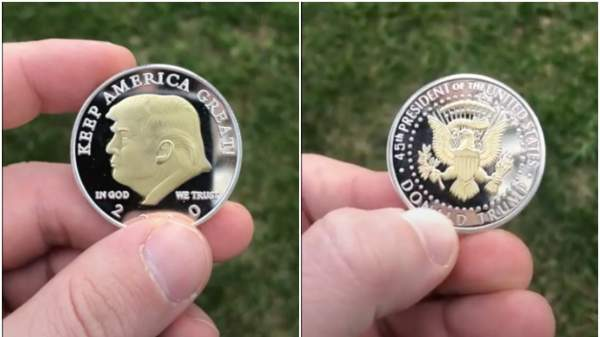 The coins are made in Massachusetts as you can see, half of the money goes for Trump's election fraud investigation | AnyImage.io