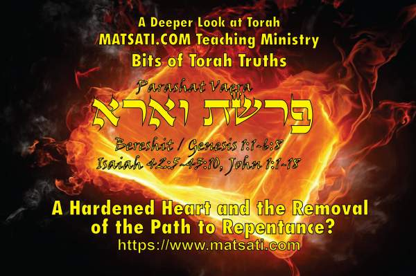 A Hardened Heart and the Removal of the Path to Repentance? פרשת וארא, Parashat Va'era, Bits of Torah Truths - Digging Deeper - MATSATI.COM Teaching Ministry