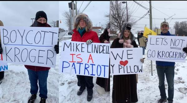 MI Residents Stand Together In Freezing Cold Weather To Protest KROGER For Joining Corporate Bullies Attempting To Punish My Pillow CEO, Mike Lindell