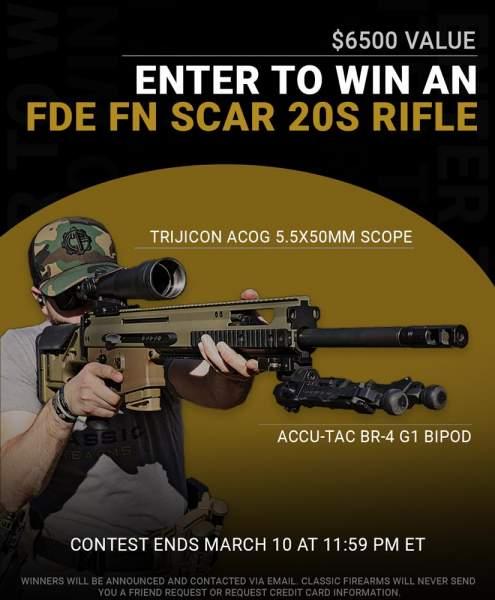 Contest - Win An FDE FN SCAR 20S Rifle w/ Trijicon Acog 5.5x50mm Scope