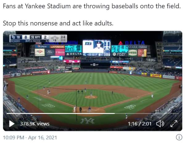 Yankees Fans Peacefully Protest Blowout to the Rays – American Police News