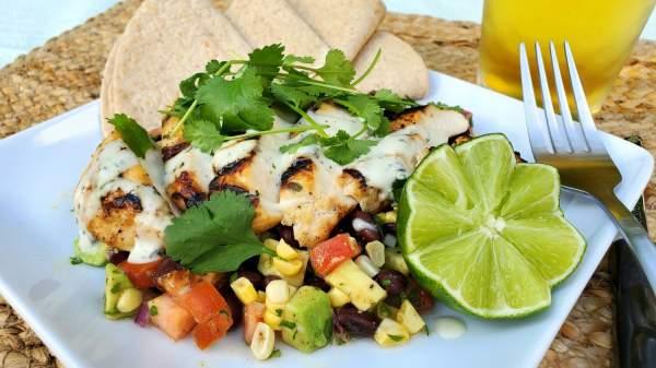 Grilled Tequila Lime Chicken with Corn, Avocado, Tomato, Black Bean Salad and Avocado Crema — Springer Mountain Farms