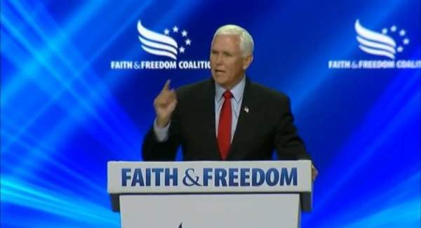 """Mike Pence Drowned Out by Hecklers at Faith & Freedom Coalition Summit with Chants of """"Traitor!"""" (VIDEO)"""
