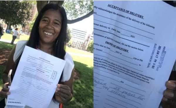 WATCH: Michigan SOS Candidate Kristina Karamo Delivers +7,500 Affidavits Demanding Forensic Audit to Dishonest Jocelyn Benson - BUT HER OFFICE WON'T ACCEPT THEM!