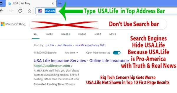 IMPORTANT: Type USA.Life in the TOP Address Bar   ..