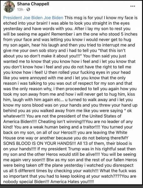 Shana Chappell, Grieving Mother of Marine Kareem Nikoui Killed in Kabul, Has Facebook and Instagram Accounts Suspended For Speaking Against Joe Biden - The Last Refuge