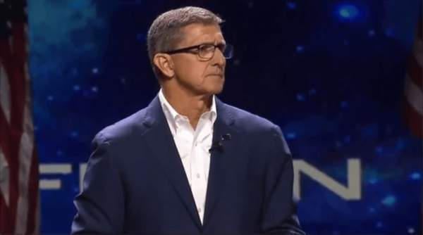 """General Michael Flynn Promotes The Gospel Of """"Americanism,"""" Not The Gospel Of Christ: References """"Seven Fold Rays"""" & Prays """"In The Name Of Legions,"""" Not Jesus (Video) - The Washington Standard"""